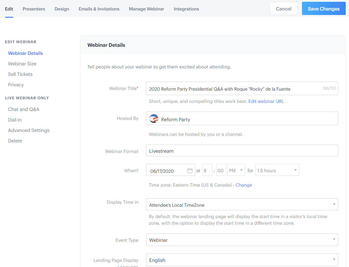 Big Marker - Editing Webinar Details