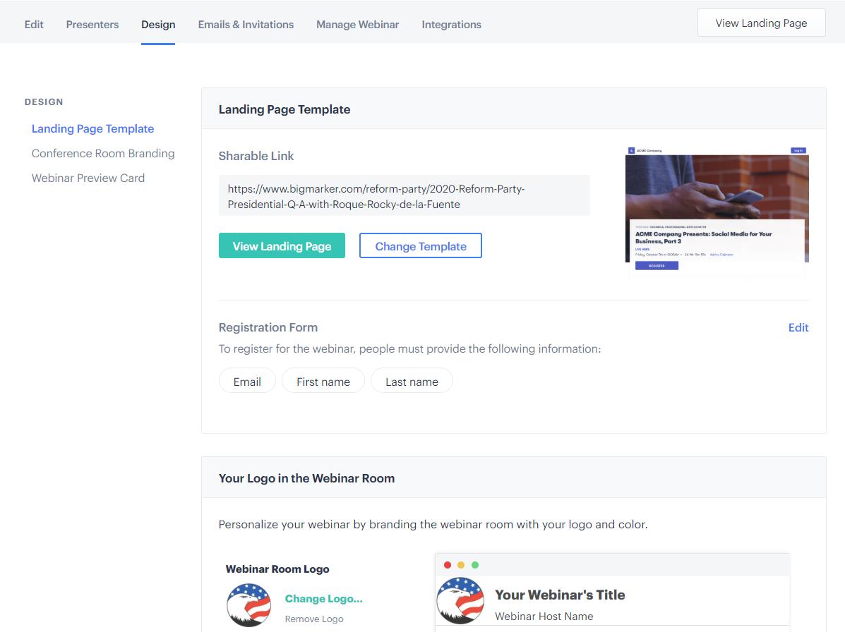 BigMarker - Webinar Landing Page Design